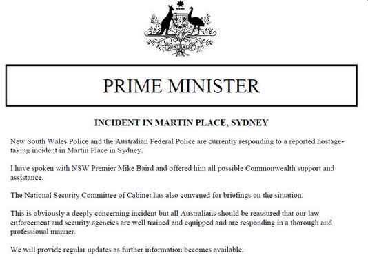 tony abbott statement about lindt cafe incident
