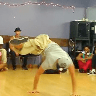 One Legged Breakdancer boy in dance class tears it up