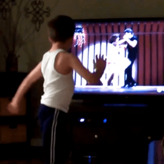 Little boy copies Patrick Swayze's moves from Dirty Dancing