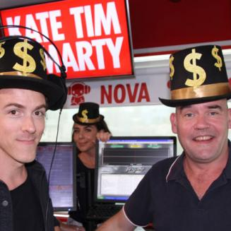 Kate, Tim and Marty wearing $ hats
