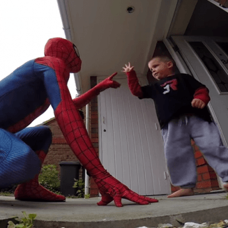 Dad dresses up as Spiderman to surprise his terminally ill son on his birthday