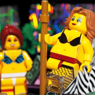 Lego female stripper with fishnet stockings