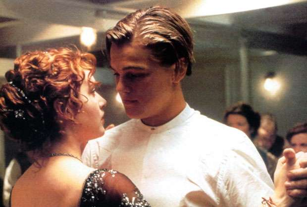 Leonardo DiCaprio with Kate Winslet in Titanic