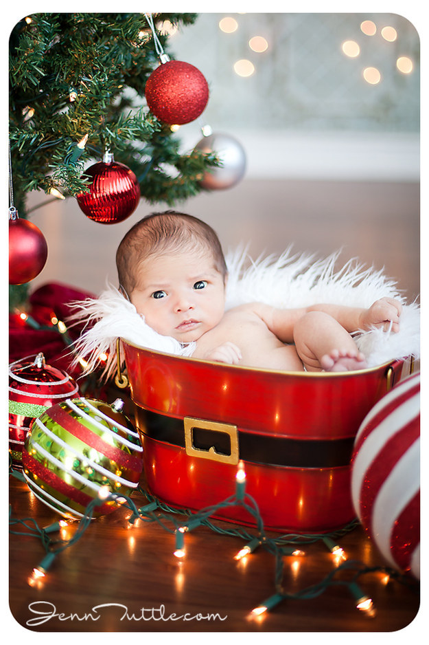 babies winning at their first christmas photo shoot