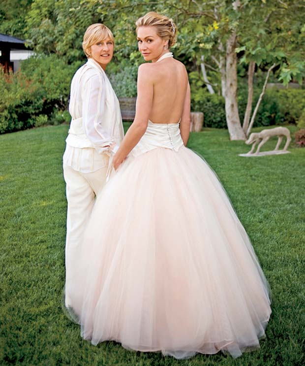 Top 10 celebrity wedding dresses of all time smooth for Portia de rossi wedding dress