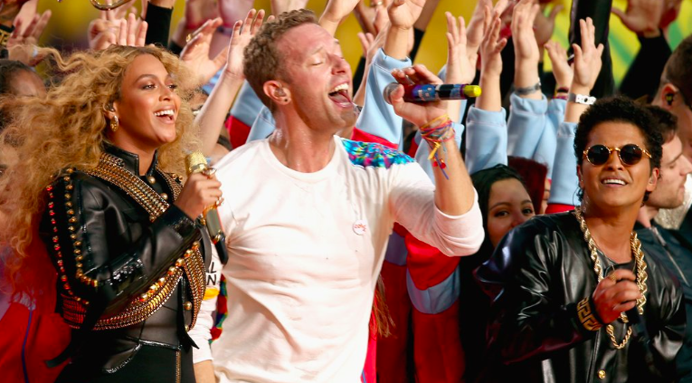 beyonce and coldplay at super bowl